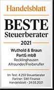 Auszeichnung beste Steuerberater 2021